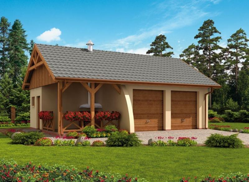 Projekt Domu Energooszczędnego G42 Garaż Dwustanowiskowy Z