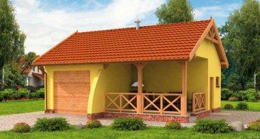 Projekt Domu G264 Garaż Jednostanowiskowy Z Pomieszczeniem Gospodarczym I Werandą
