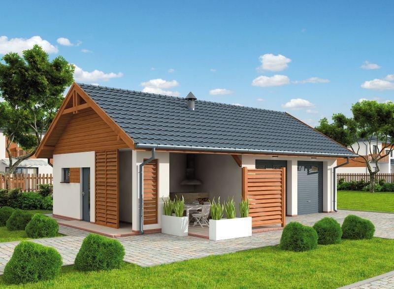 Projekt Domu Energooszczędnego G321 Garaż Dwustanowiskowy Z